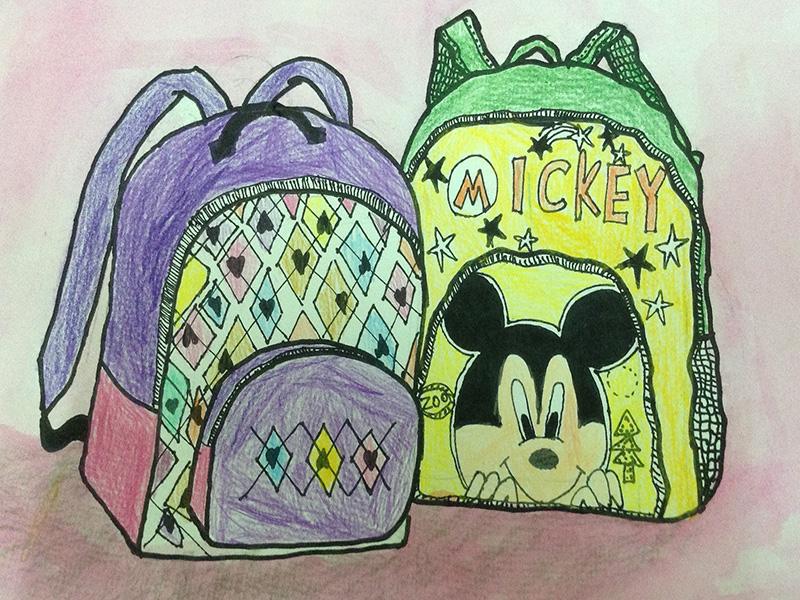 童背书包背影手绘