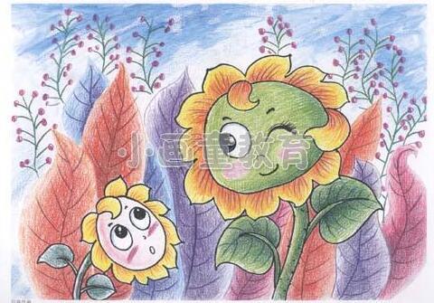 《向日葵》儿童美术彩铅画绘画方式