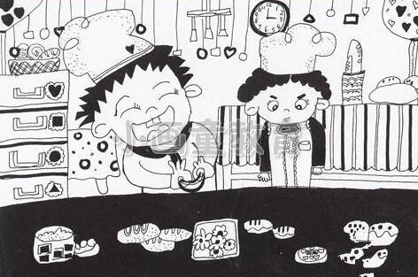 儿童美术线描画《小厨师课堂》