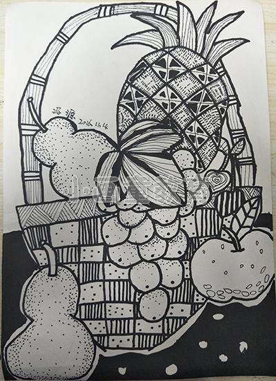 线描水果篮子